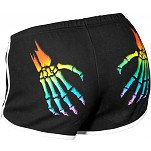 Rollerbones Woman's Booty Shorts White/Rainbow